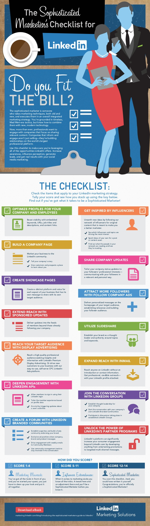 Infographic showing LinkedIn marketing tips